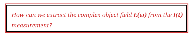 """The following text is outlined in a  red and black box  - """"How can we extract the complex object field from the measurement of its image Intensity?"""""""